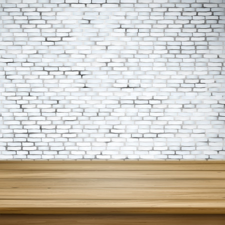 tabletop: close-up look at wooden table over white brick wall