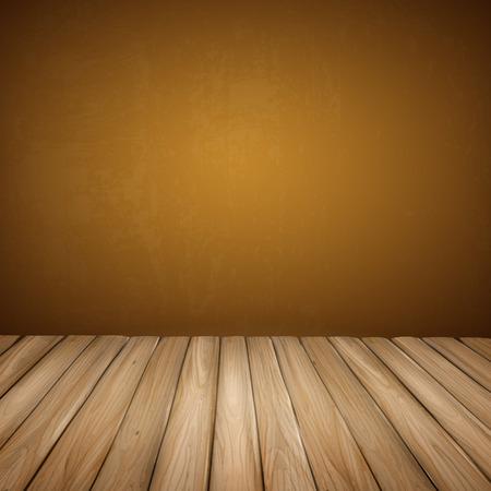 closeup: Close-up Blick auf leere Innenwand mit Holzboden