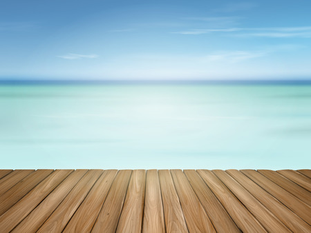 wooden floor with beautiful ocean and blue sky scenery