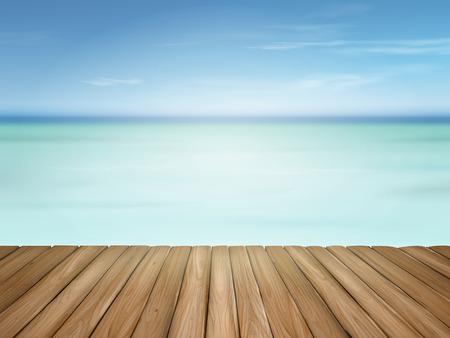 suelos: suelo de madera con hermoso mar y el cielo azul paisaje