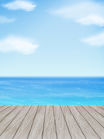ocean floor: wooden floor with beautiful ocean and blue sky scenery