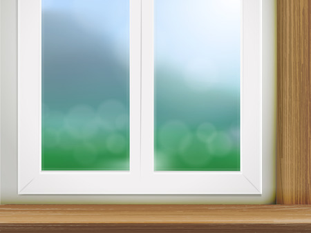 brownish: wooden table and window place with blurred forest scene Illustration