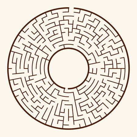 illustration of round maze isolated on beige background