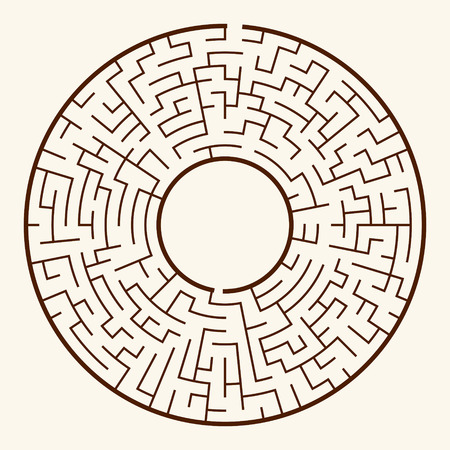 illustration of round maze isolated on beige background