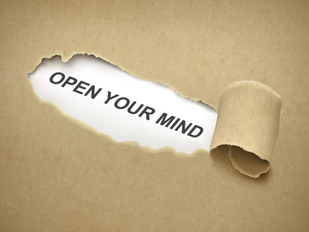 open minded: open your mind words behind brown torn paper