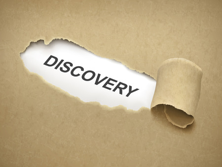 the word discovery behind brown torn paper Illustration