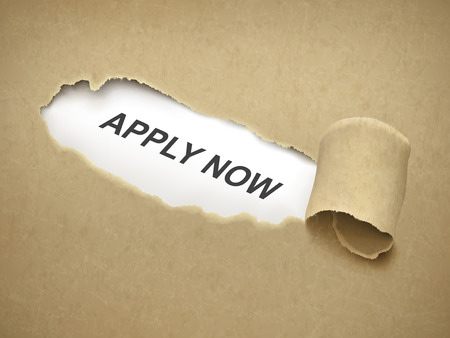 apply now: apply now words behind brown torn paper