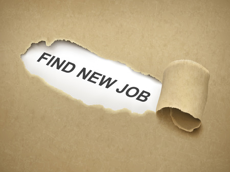 find staff: find new job words behind brown torn paper