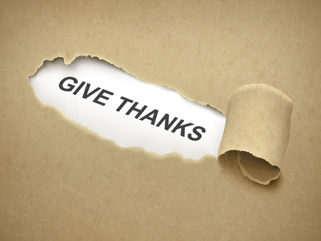 thursday: give thanks words behind brown torn paper Illustration