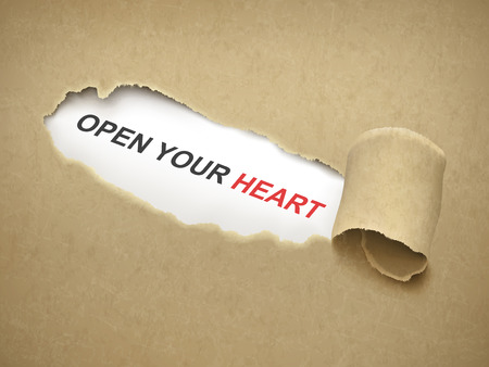 torn heart: open your heart words behind brown torn paper Illustration