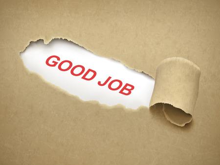 good job: good job words behind brown torn paper Illustration