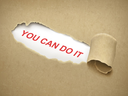 you can do it: you can do it words behind brown torn paper Illustration