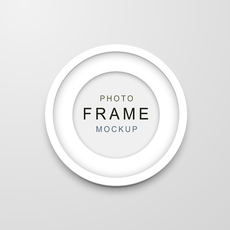 wood carving 3d: photo frame mockup isolated on white background