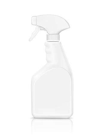 白い背景で隔離された空ボトル スプレー洗剤