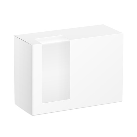 plastic window: package cardboard box with transparent plastic window isolated on white