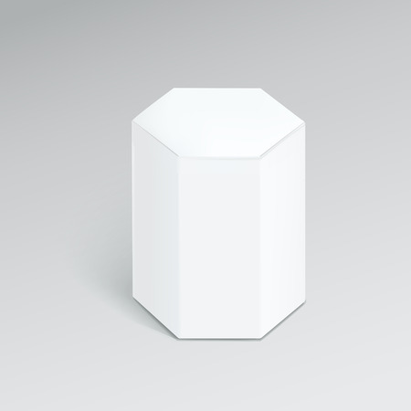white boxes: hexagonal modern box isolated over grey background