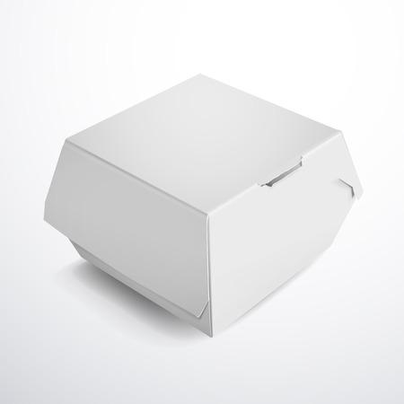 voedingsmiddelen: wit voedsel box verpakking voor hamburger op een witte achtergrond