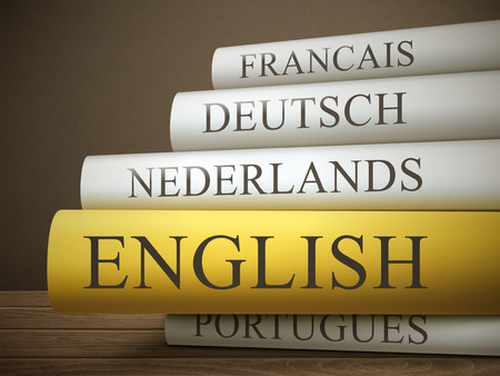 francais: book title of english isolated on a wooden table over dark background