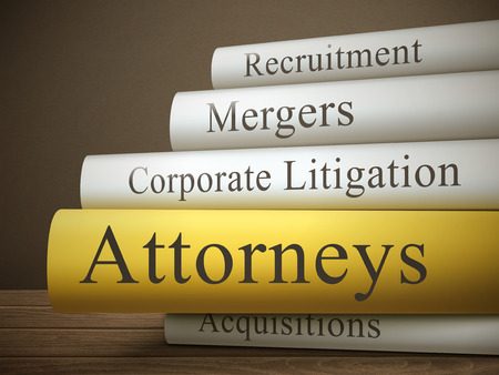 acquisitions: book title of attorneys isolated on a wooden table over dark background Illustration