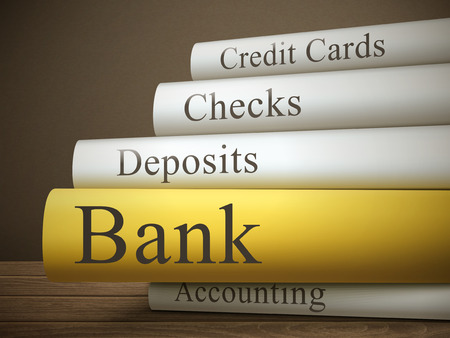 debt management: book title of bank isolated on a wooden table over dark background Illustration