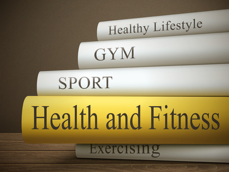book reviews: book title of health and fitness isolated on a wooden table over dark background Illustration