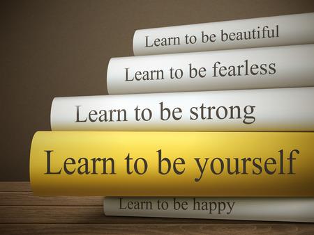 bonito: título del libro de aprender a ser tú mismo aislado en una mesa de madera sobre fondo oscuro Vectores
