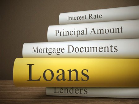 principal: book title of loans isolated on a wooden table over dark background Illustration