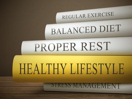 boektitel van een gezonde levensstijl die op een houten tafel over donkere achtergrond