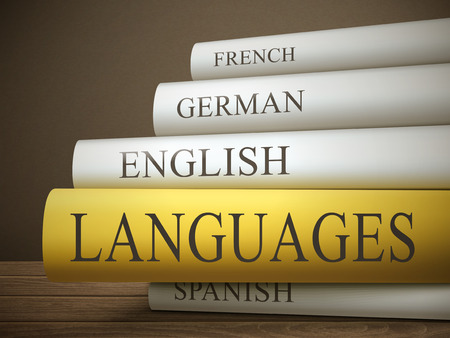 english culture: book title of languages isolated on a wooden table over dark background Illustration