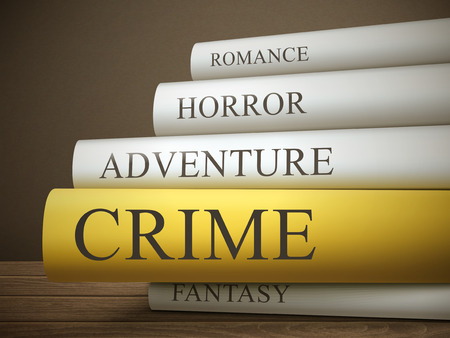 book reviews: book title of crime isolated on a wooden table over dark background