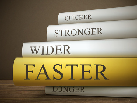 book title of faster isolated on a wooden table over dark background Illustration