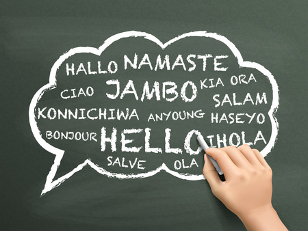 world thinking: greeting in different language written by hand over chalkboard