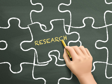 methodology: research word written on puzzle piece by hand over chalkboard Illustration
