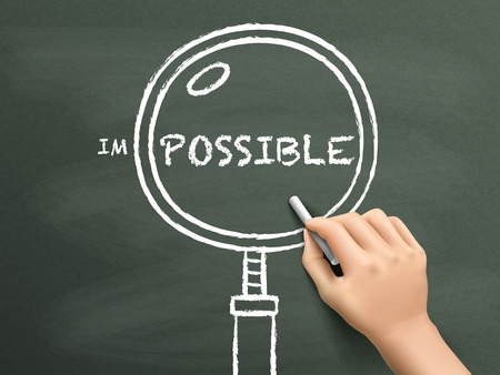 find out possibility with magnifying glass drawn by hand over chalkboard Illustration