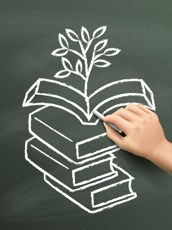 cellulose: plant grows from books drawn by hand over chalkboard Illustration