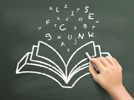 libros volando: palabras de vuelo a partir de libros dibujados a mano en la pizarra