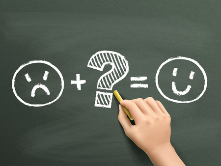 customer satisfaction: customer satisfaction symbols drawn by hand over chalkboard Illustration