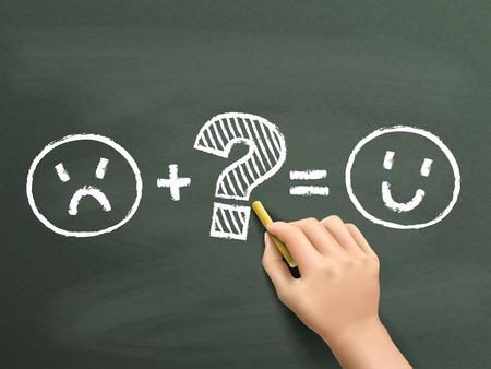 customer satisfaction symbols drawn by hand over chalkboard Illustration