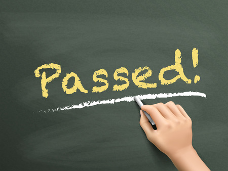 passed: passed word written by hand over chalkboard