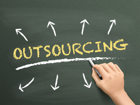 contracting: outsourcing word written by hand over chalkboard