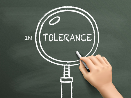 tolerance: tolerance word with magnifying glass drawn by hand over chalkboard