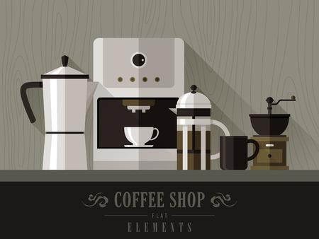 평면 디자인 스타일에서 설정 현대 커피 머신 일러스트