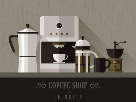 modern coffee machine set in flat design style