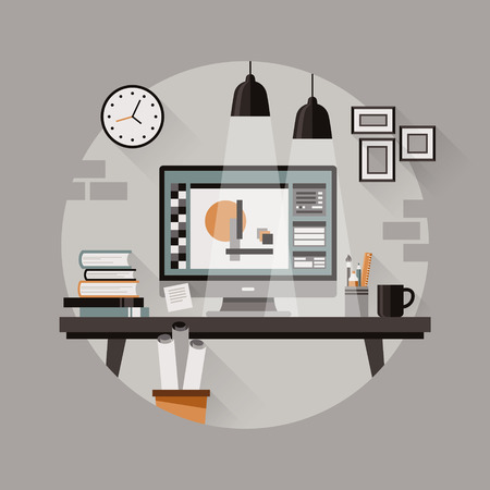 clean office: cozy workplace of designer in flat design Illustration