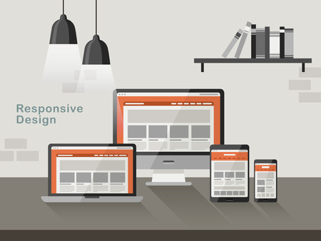 responsive: responsive design on different devices in flat design style
