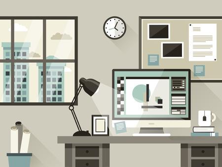oficina: Ilustración moderna oficina de interior en estilo diseño plano