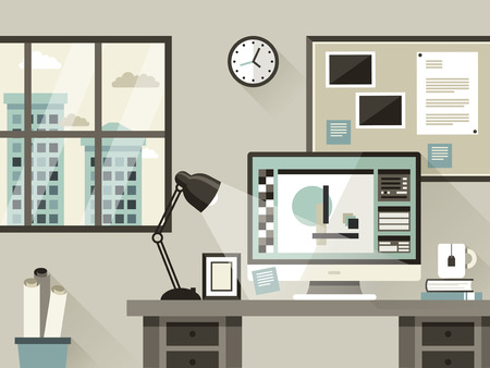 orologio da parete: moderno illustrazione ufficio interno in stile design piatto