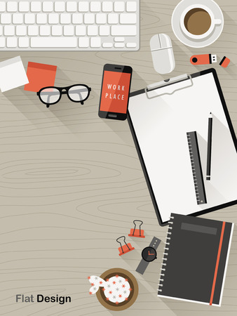 top view of flat design workplace illustration