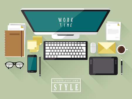 media gadget: top view of modern workplace in flat design