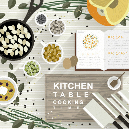 cooking: variety cooking materials on kitchen table in flat design Illustration